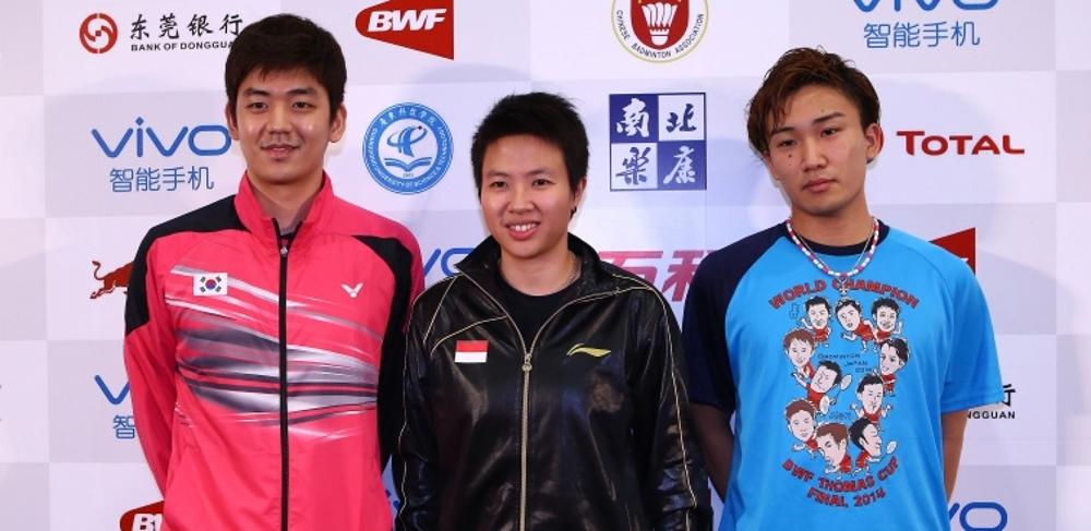 Lee Yong Dae, Liliyana Natsir and Kento Momota